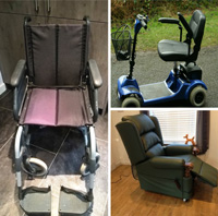 A compilation of donated disability equipment photos: a black manual wheelchair; a blue mobility scooter and a dark riser recliner chair.